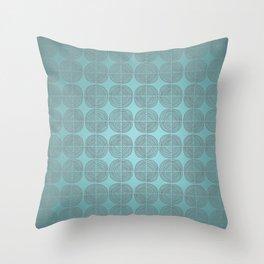 Tin circles on shiny turquoise pattern Throw Pillow