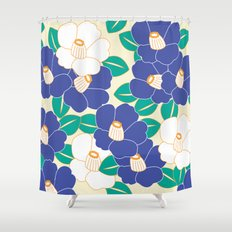Japanese Style Camellia - Blue and White Shower Curtain
