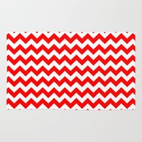 chevron Area & Throw Rugs featuring Chevron (Red/White) by 10813 Apparel