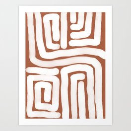 Bronze and White Lines Abstract Print Art Print