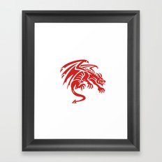 Dragon Gargoyle Crouching Silhouette Retro Framed Art Print