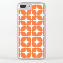 Mid Century Modern Star Pattern Orange 2 Clear iPhone Case