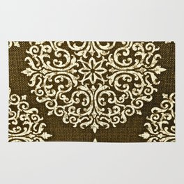 Damask Brown and Beige Fleur De Lis Paisley Vintage Pattern Rug