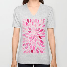Watercolor brush strokes - pink Unisex V-Neck