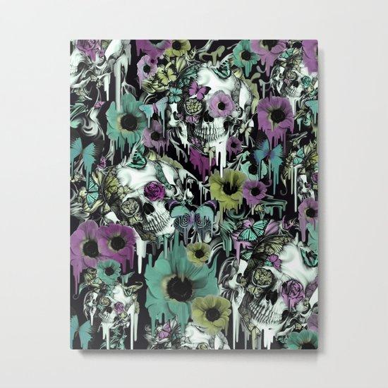 Mrs. Sandman, melting rose skull pattern Metal Print