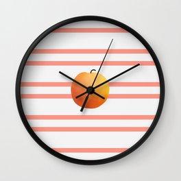Ruston Peach Rugby Stripe Wall Clock