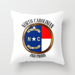 North Carolina Proud Flag Button Throw Pillow