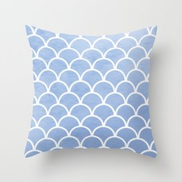 Beautiful textured large scallops in serenity blue Throw Pillow