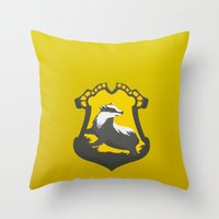 hufflepuff Throw Pillows featuring Hufflepuff by Tom Oxnam