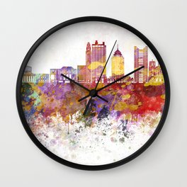 Columbus skyline in watercolor background Wall Clock