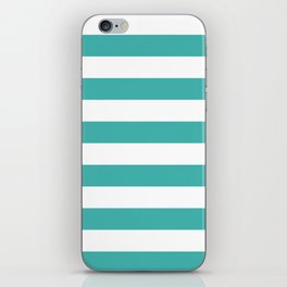 Horizontal Stripes - White and Verdigris iPhone Skin
