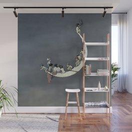 """ Moon's First Voyage"" Fairy Art by W Heath Robinson Wall Mural"