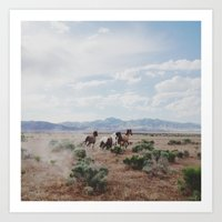 internet Art Prints featuring Running Horses by Kevin Russ