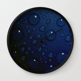 Midnight Blue to Stars in Droplets Polka Dots Wall Clock