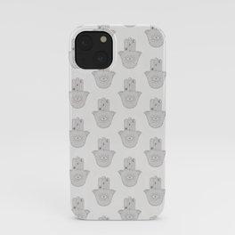 Light pale white and grey boho hamsa hand pattern iPhone Case