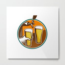Beer Pint Glass Hand Tap Retro Metal Print