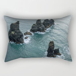 Sea stacks on the Icelandic Coast near Vik - Landscape Photography Rectangular Pillow