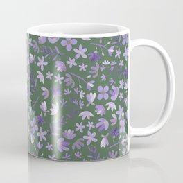 Purple Watercolor Flowers on Green Coffee Mug
