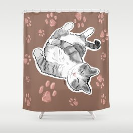 Petoux the Cat, Patterned Shower Curtain