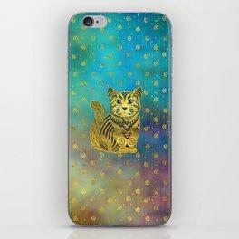 Bohemian Cat Golden Decor on Paint Background iPhone Skin