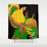 rooster Shower Curtains featuring Rooster by Saundra Myles