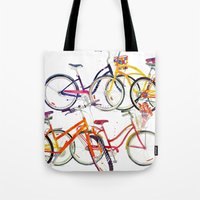 bikes Tote Bags featuring bikes by takmaj