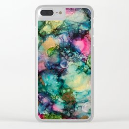 Abstract Painting with Blue Swirls Clear iPhone Case
