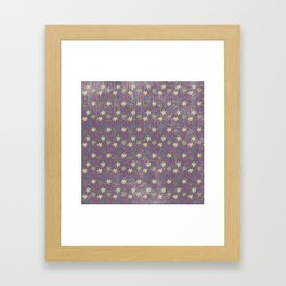 Vintage mauve purple green abstract leaves pattern Framed Art Print