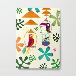 Vintage Modern Tiki Birds Metal Print