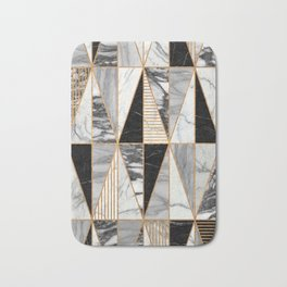 Marble Triangles - Black and White Bath Mat