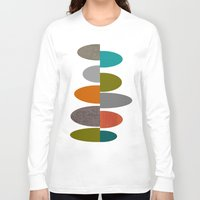 mid century Long Sleeve T-shirts featuring Mid-Century Modern Abstract Ovals by Kippygirl