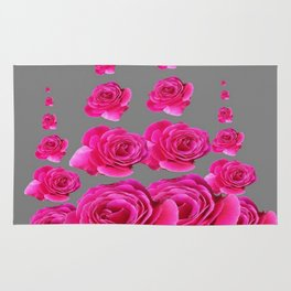 DECORATIVE SURREAL FUCHSIA PINK ROSES  COLUMNS Rug