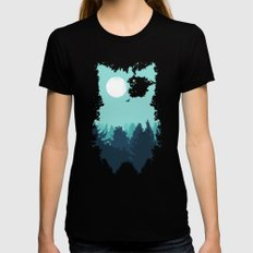 Winter Owl Womens Fitted Tee X-LARGE Black