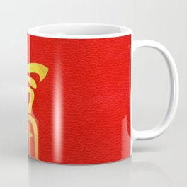 Golden Wealth Feng Shui Symbol on Faux Leather Coffee Mug
