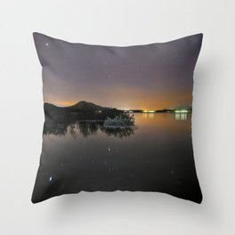 The Big star Sirius the Costelation of Orion and Taurus  reflected at the lake Throw Pillow