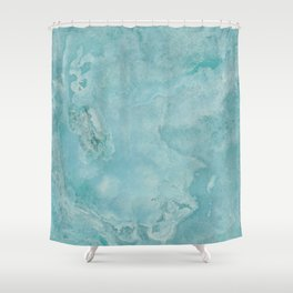 Turquoise Sea Marble Shower Curtain
