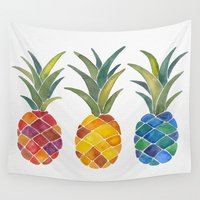 pineapples Wall Tapestries featuring Pineapples by Cat Coquillette