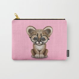 Cute Cougar Cub Wearing Reading Glasses on Pink Carry-All Pouch