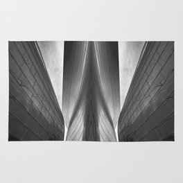 Architectural abstract captured in black and white from low perspective rendering a dramatic view. Rug
