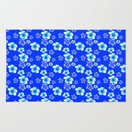 Blue Floral And Turtles Hawaiian Pattern Rug