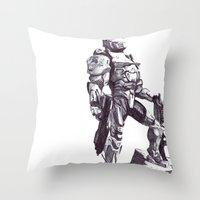 master chief Throw Pillows featuring Master Chief 117 by DeMoose_Art