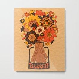 Flower Bloom 70s 60s Retro Vase  Metal Print