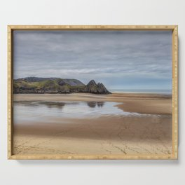 Reflections of Three Cliffs Bay Serving Tray