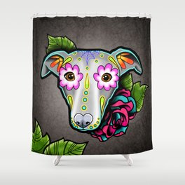 Greyhound - Whippet - Day of the Dead Sugar Skull Dog Shower Curtain