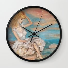 could we be friends? Bffs bestfriends mermaid and beautiful lady boat on the ocean at sunset Wall Clock