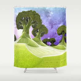 Broccoli Planet Shower Curtain