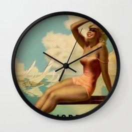 Vintage 1937 Suntan Lotion Diadermina by Gino Boccasile Lithograph Advertisement Poster Wall Clock