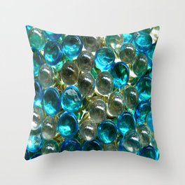 Glass Aqua Balls Throw Pillow