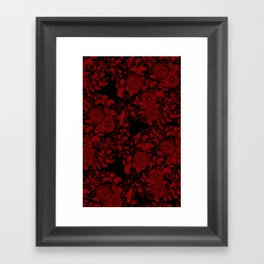Chrysanthemums Red on Black Framed Art Print