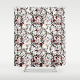 Boho pattern with dreamcatcher, roses and cactuses Shower Curtain